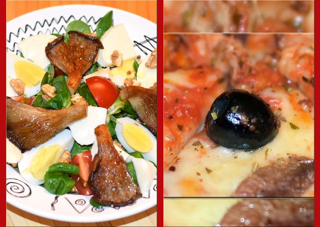Feldsalat mit gebratenen Austernpilzen, Walnüssen und Käse ... Olivenpizza ... Foto: Brigitte  Stolle