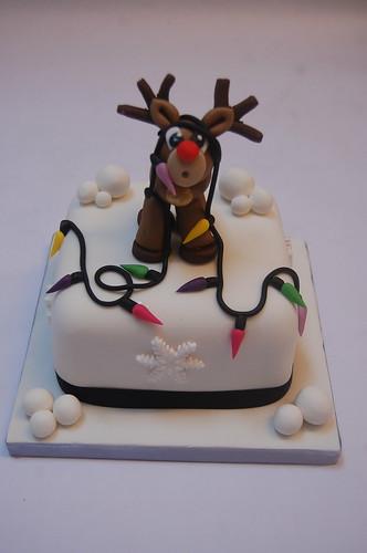 Reindeer And Fairy Lights Christmas Cake Beautiful