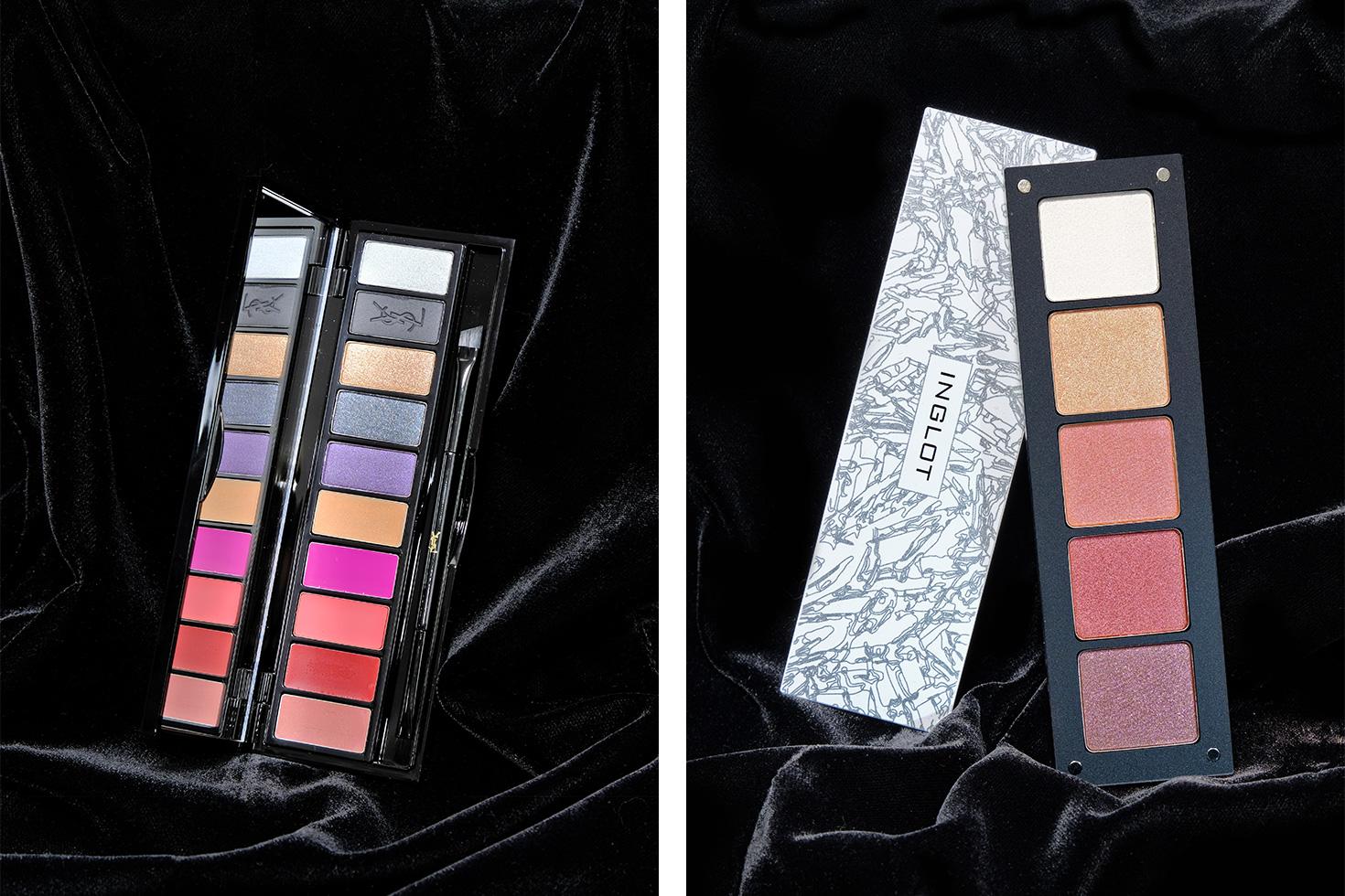 Слева: палетка для губ и глаз YSL Couture Variation Palette. Справа: набор теней Inglot