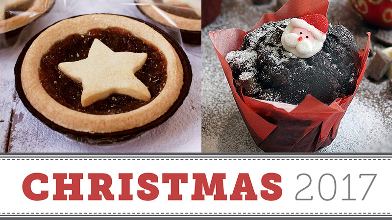 A mince pie and Christmas muffin