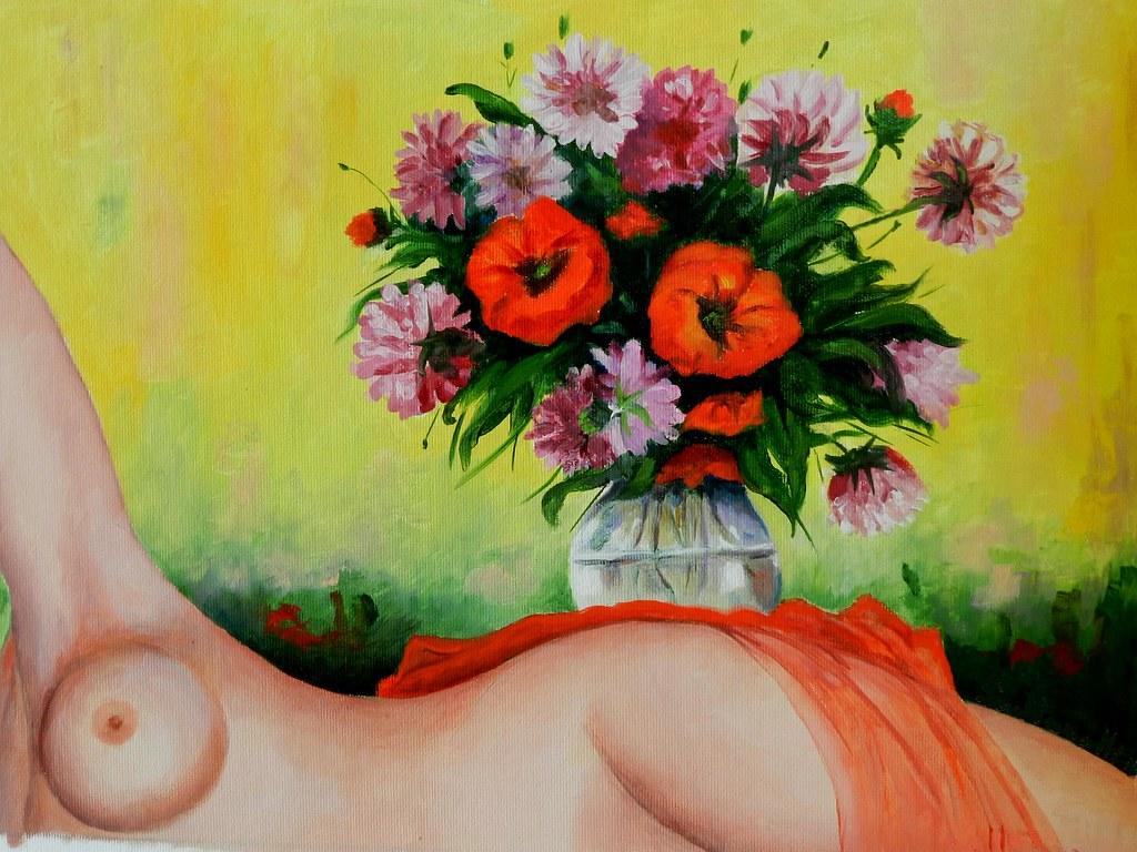Nudo con bouquet di fiori | Dipinto a olio su tela 40 x 30 | Flickr