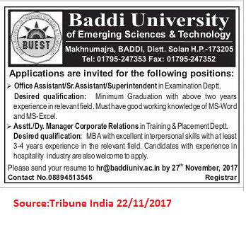 Baddi University,Office Assistant,Solan.
