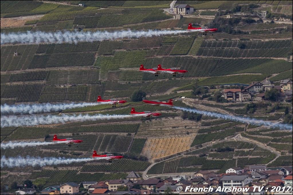 Swiss Air Force PC-7 TEAM , Breitling Sion Air Show 2017 , sion airshow , montagne , Alpes suisse , Canton du Valais , Meeting Aerien 2017