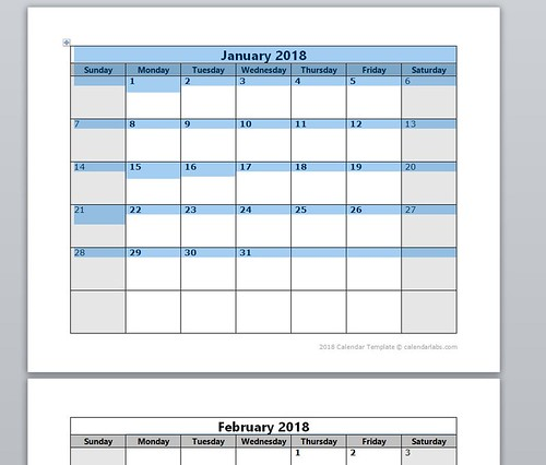 Screenshot of Word Document Monthly Calendar