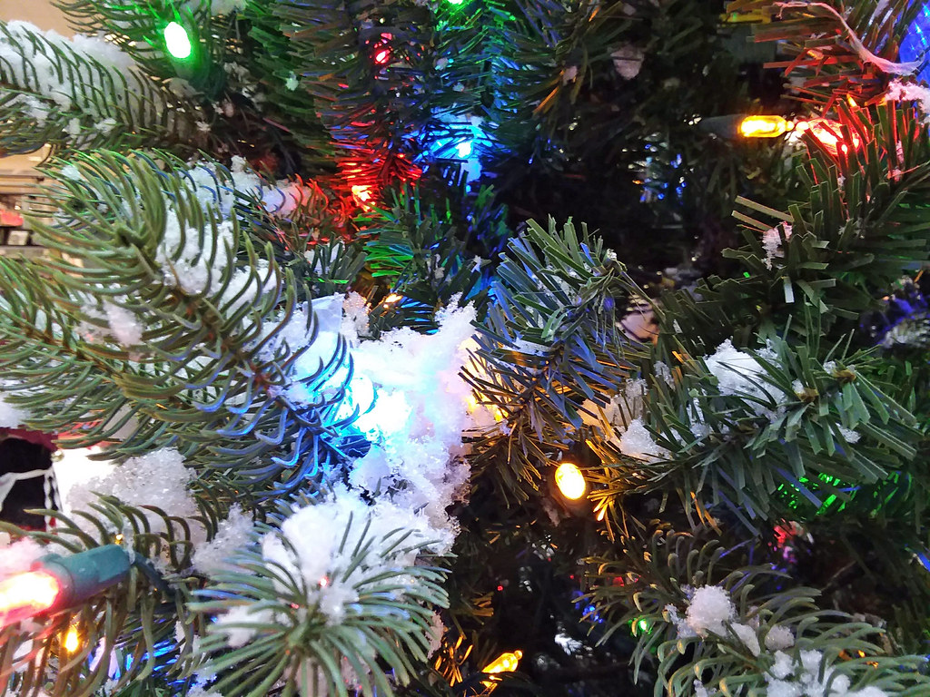 Artificial snow and christmas lights on new year s day mu flickr