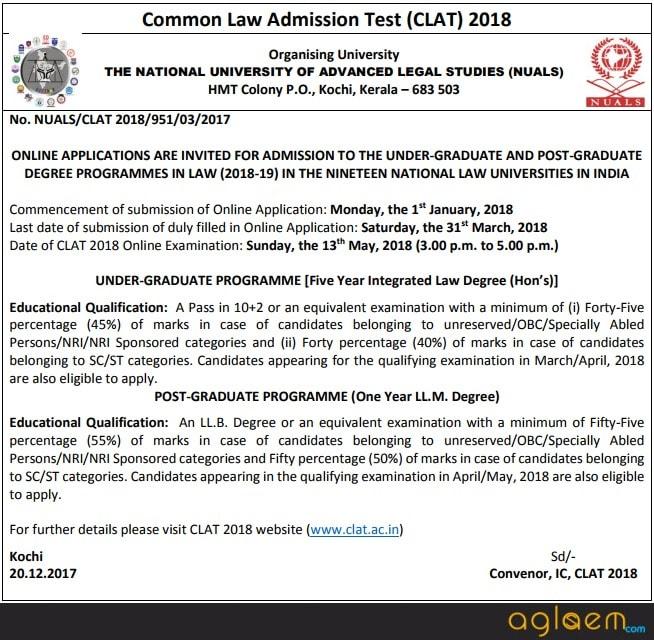 CLAT 2018 Notification