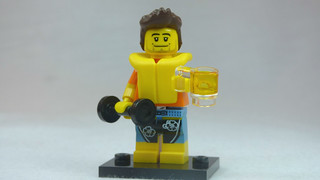 Brick Yourself Custom Lego Figure Guy with Life Vest Dumbbell & Beer | by BrickManDan