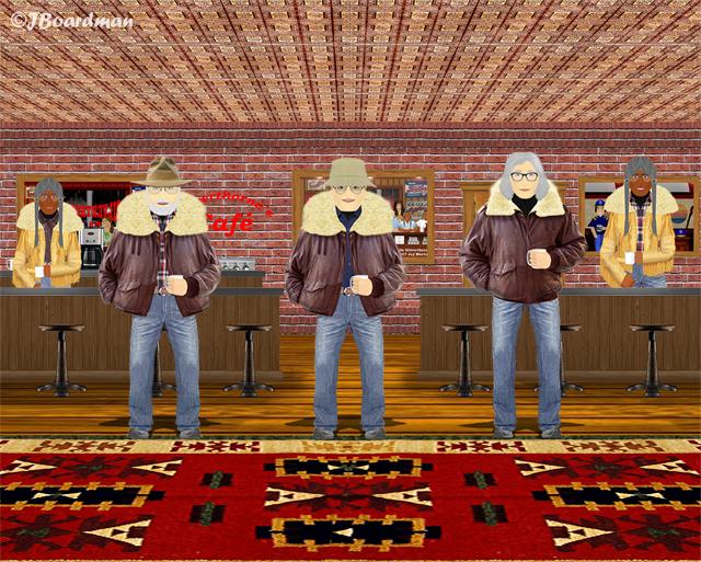 Joey & Boomer inside Silverthorn's Café ©JBoardman