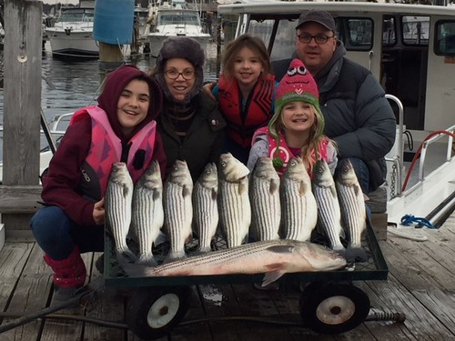 Family with their catch of striped bass