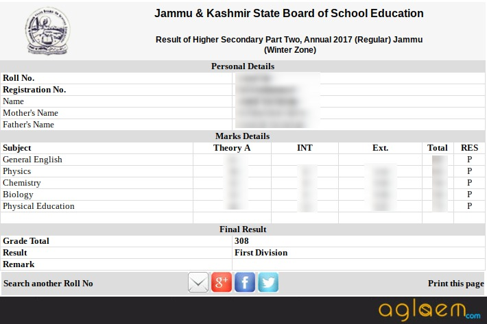 JKBOSE Class 12 Annual Exam Result 2017 Declared For Jammu Division