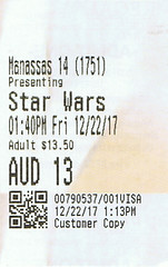 Star Wars The Last Jedi ticketstub