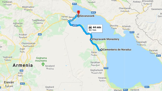 Mapa de situación del Lago Sevan en Armenia (con la ruta que hicimos)