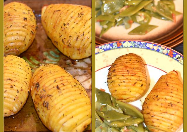 Knoblauchbohnen ... Thymian-Fächerkartoffeln aus dem Backofen ... Fotos: Brigitte Stolle