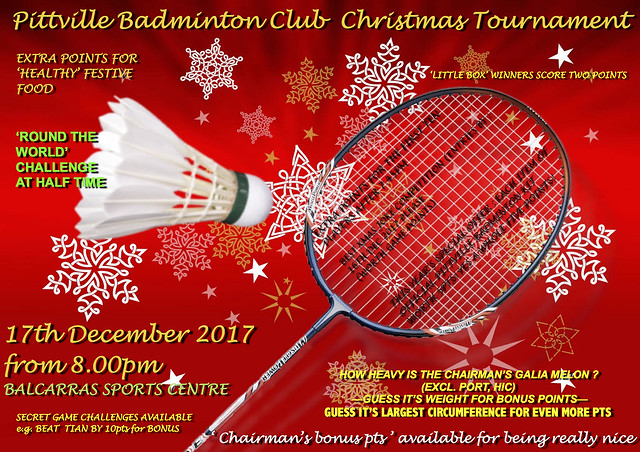 Pittville Badminton Club Christmas Tournament 2017