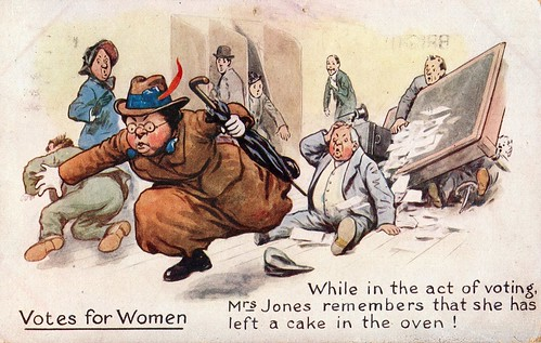 Anti-suffrage postcard: While in the act of voting, Mrs Jones remembers that she has left a cake in the oven | by LSE Library