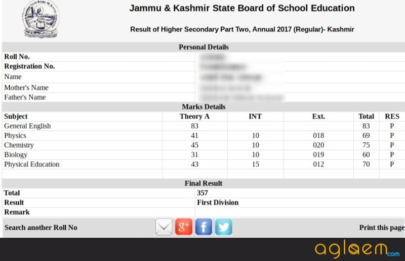 JKBOSE 12th Result 2017 (Annual) for Kashmir Declared at jkbose.co.in