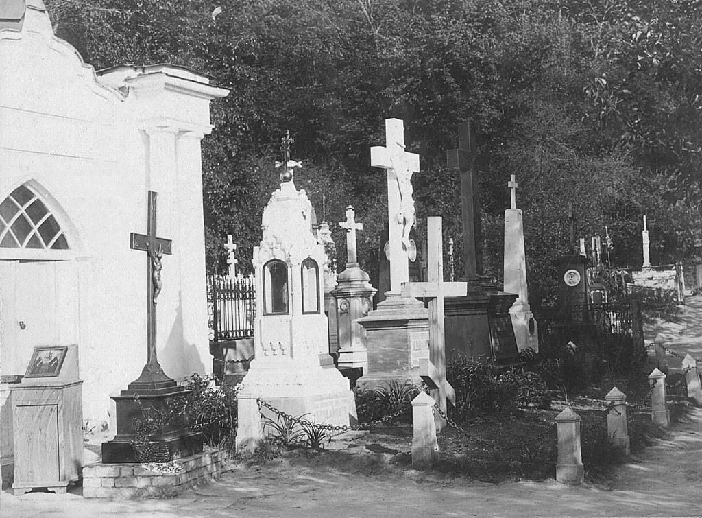 Кладбище при пещерной церкви. Фото XIXв.