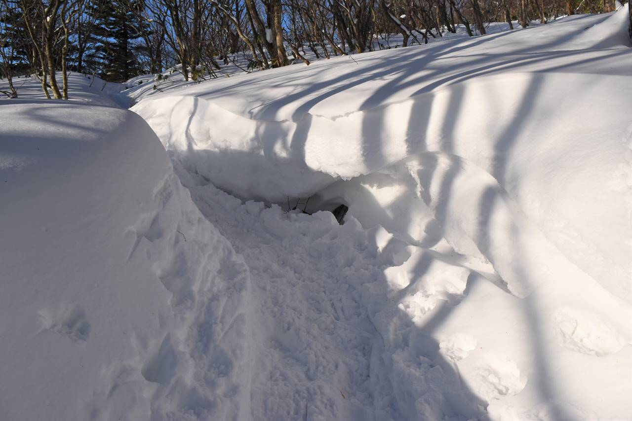 冬の安達太良山 積雪量