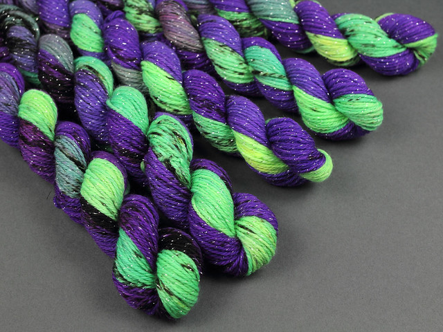 Glitter Sock Mini Skeins merino blend 20g – 'Badass' (neon purple/green/black)