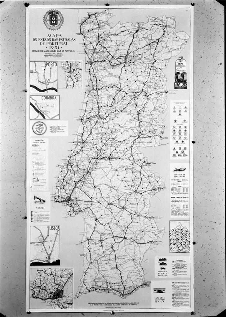 Mapa do estado das estradas em Portugal, A.C.P. (M. Novais, 1951)