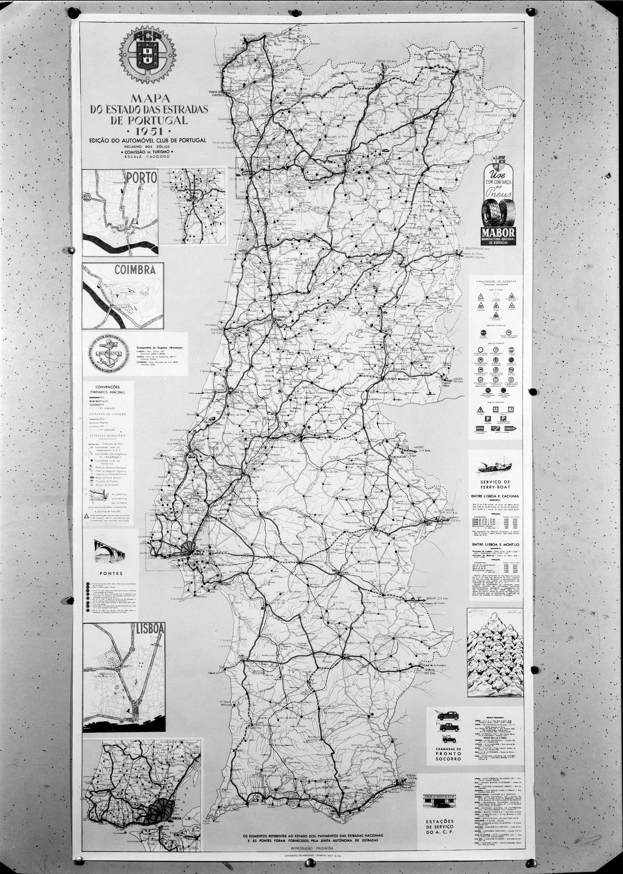 acp mapa de portugal Mapa do estado das estradas de Portugal ○ 1951 ○   Bic Laranja acp mapa de portugal