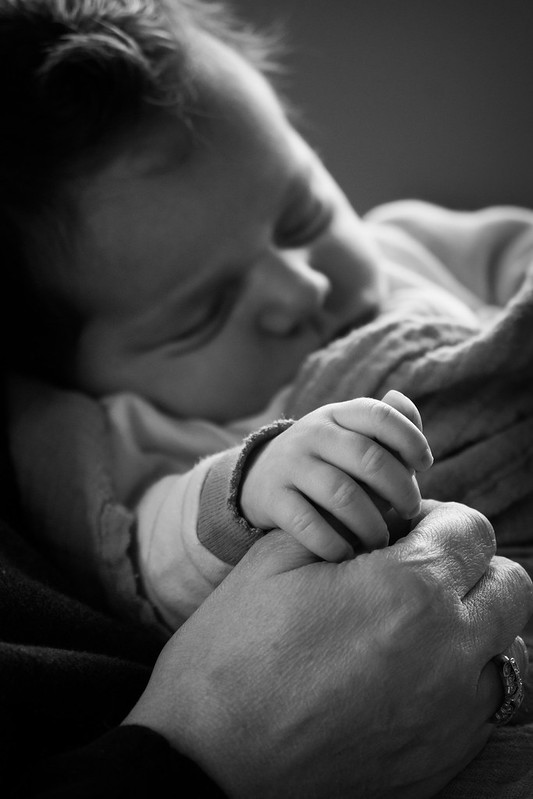 Infant, Baby, Monochrome, Sleeping, Holding