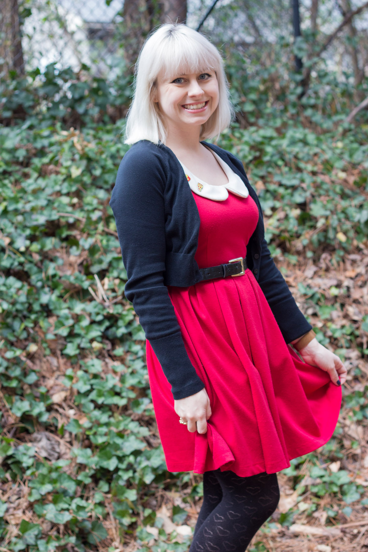 Red Modcloth Dress, Black Cropped Cardigan, and Platinum Blonde Hair
