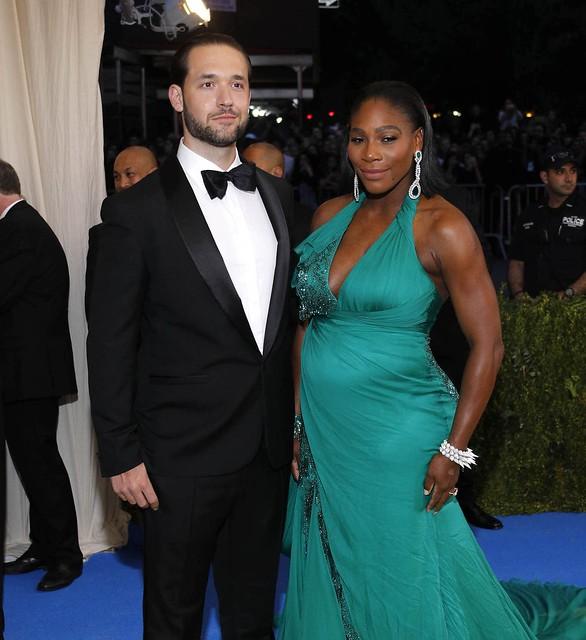 Serena Williams(圖右)和丈夫Alexis Ohanian。(達志影像資料照)