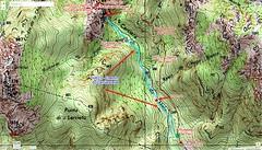 Carte IGN de la partie aval du Carciara avec le tracé de l'ancien chemin d'exploitation (HR21)