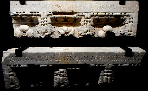 "Classical architrave with Greek inscription 9th century from Naples, now at Archaeological Museum of Naples, Exhibition ""The Longobards"", up to March 25, 2018 