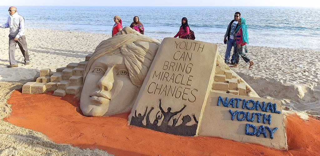 National Youth Day – Sand Sculpture at Puri Beach by International Sand Artist Mr. Manas Sahoo
