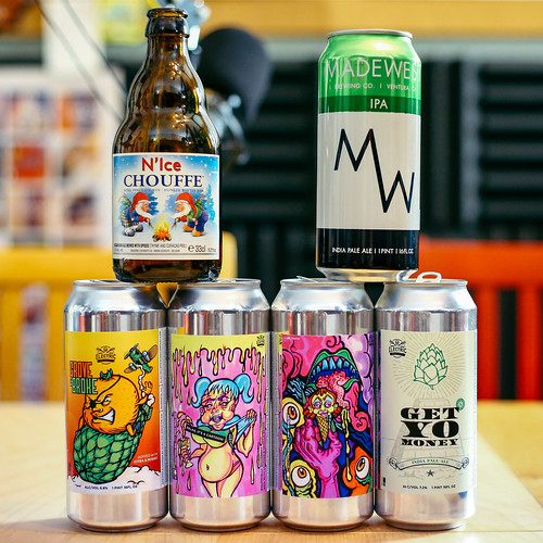 Beers from Electric Brewing Company, Madewest Brewing Company, and Brasserie d'Achouffe | by fourbrewers