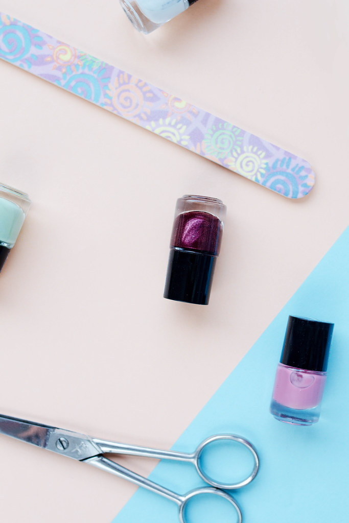 Top view of flat lay with nail polish and manicure accesso… | Flickr