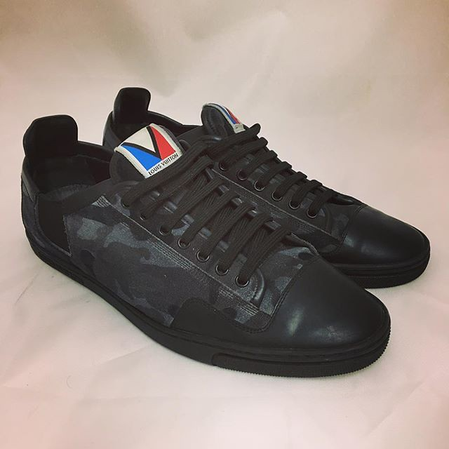 ... Louis Vuitton Mens Size 8.5 Slalom Grey   Black Camo Camouflage Leather  Sneakers Originally  650, b2ab2ccd989