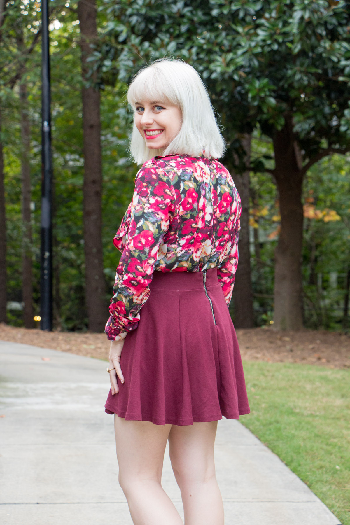 Pink Green Floral Button Down with a Maroon Flippy Skirt