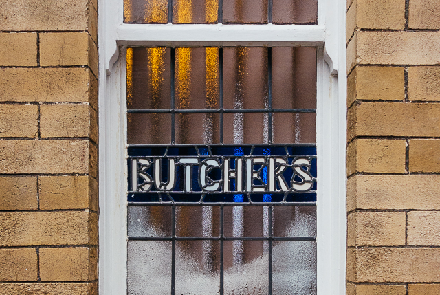 butchers arms pub window stained glass