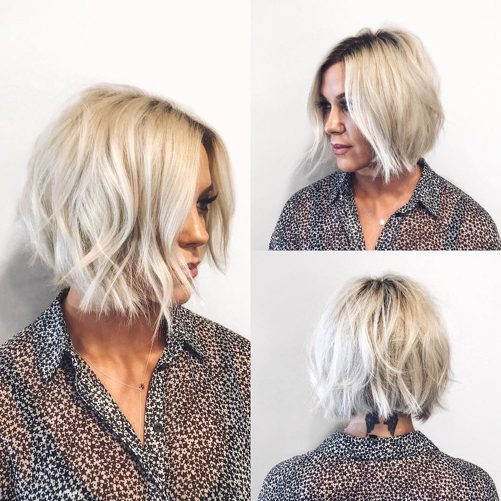 Choppy Platinum Bob With Undone Texture And Shadow Roots Flickr