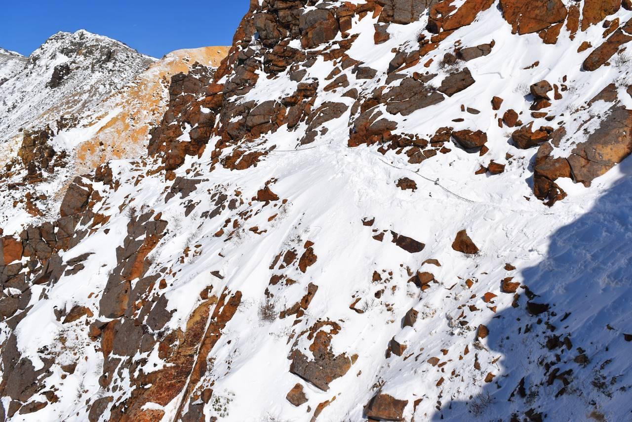 冬の那須岳・朝日岳 雪のトラバース路