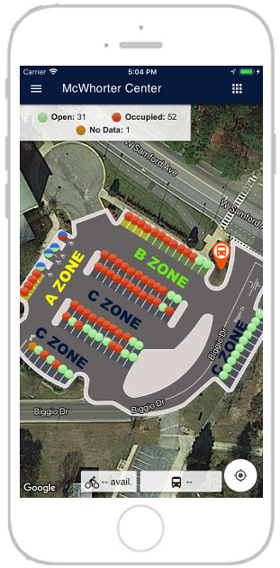 Zones marked in a parking lot on the War Eagle Parking app.