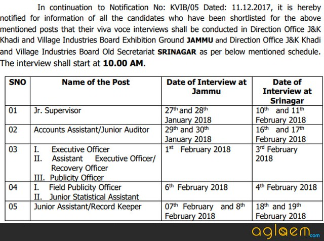 JKKVIB Recruitment Results 2017 and Shortlist of Candidates   Check Here