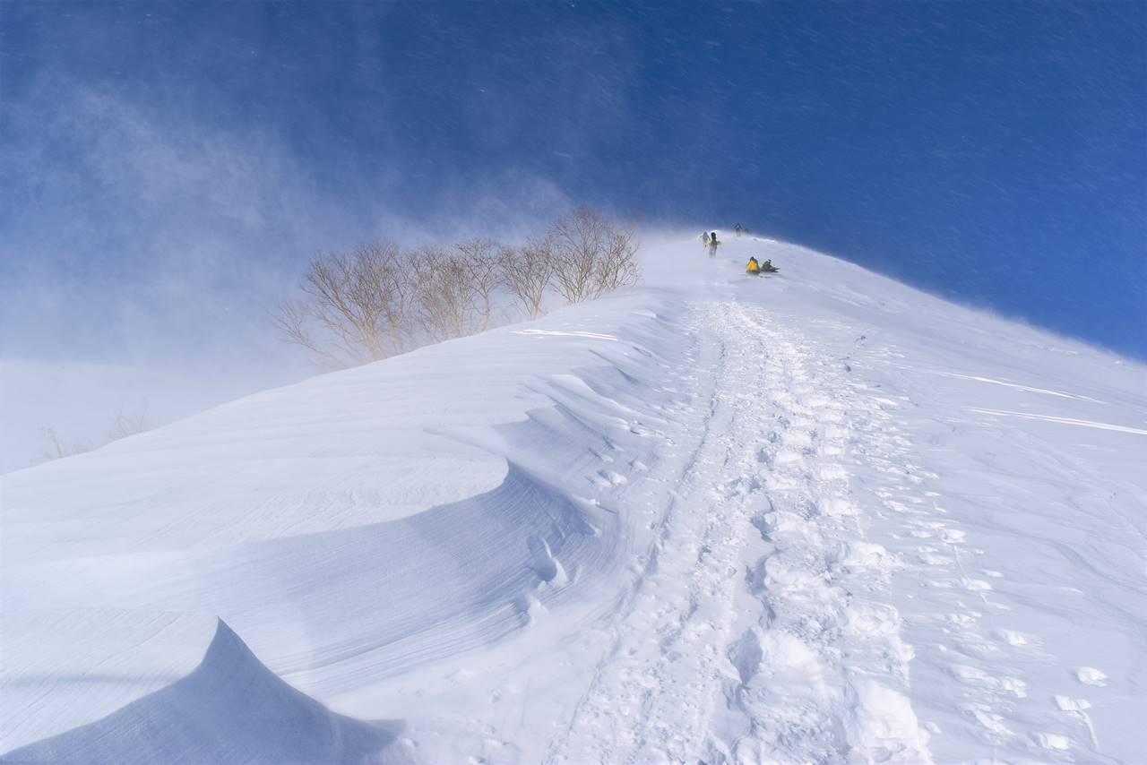 雪煙舞う強風の八方尾根