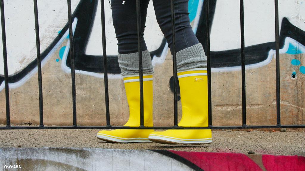 botas de agua Aigle amarillas