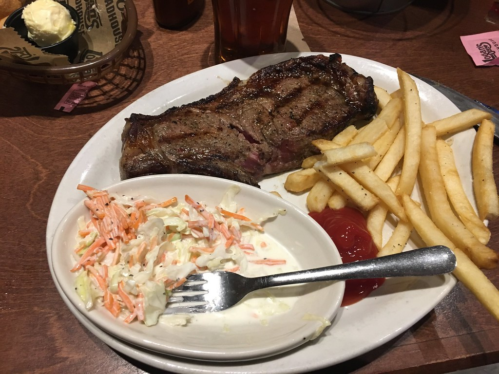 Today's photo: Supper (steak and fries) after a movie at Logan's Roadhouse in Conway, Arkansas. February 3, 2018 (iPhone 6)