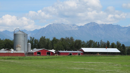 A barn in front of mountains in Alaska