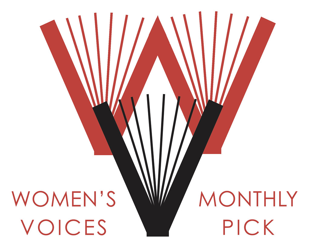 "A red 'W"" made out of two open books overlapping with a black ""V"" made out of one open book, flanked by ""Women's Voices"" and ""Monthly Pick"""