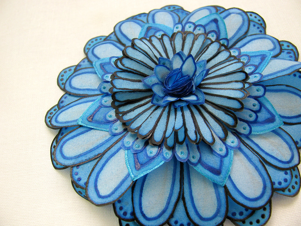 Statement Silk Flower Brooch Blue Silk Flower Brooch Flickr