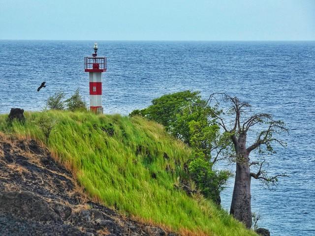Faro y baobab en Lagoa Azul (Isla de Santo Tomé en Santo Tomé y Príncipe)