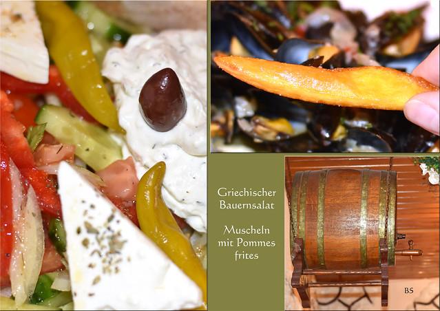 Beim Griechen gab es Bauernsalat mit Zaziki/Tsatsiki und Muscheln mit Pommes frites ... Fotos: Brigitte Stolle.