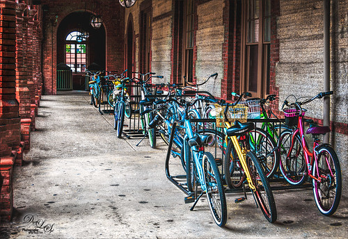 Image of colorful bicycles at Flagler College, St. Augustine, Florida