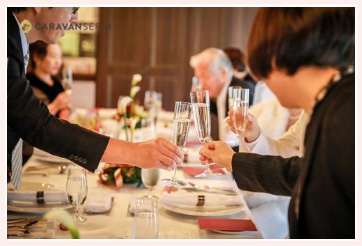 乾杯! ブライダル・ウェディング(結婚式)写真 深川神社(愛知県瀬戸市)で神社婚 ヘアメイク・着物着付けシーンからレストラン披露宴まで シェ・ブラウゼ(岐阜県多治見市)